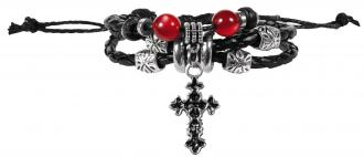BHBJ 102 Armbånd - Black Braid Silver Colored Cross